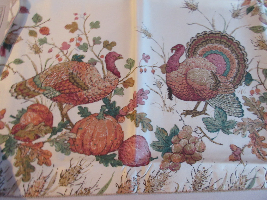 REPRODUCTION Turkeys Foliage Fruit Fall Autumn Smooth MWT Novelty Vintage Printed Tablecloth (69 X 53)