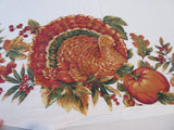 ROUND 60 Thanksgiving Turkey Bardwill NOS Novelty Retro Printed Tablecloth (60 X 59)