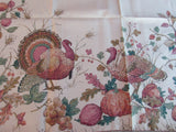 REPRODUCTION Turkeys Foliage Fruit Fall Autumn Twill MWT Novelty Vintage Printed Tablecloth (69 X 53)
