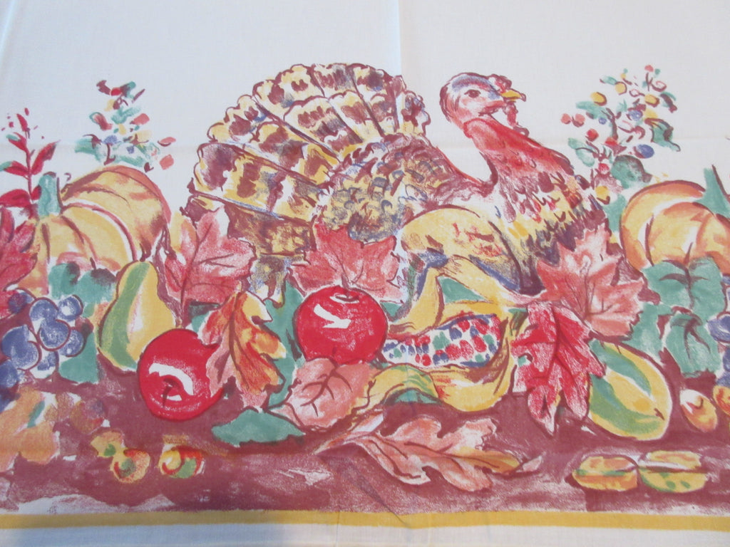 RECTANGLE 60x84 Thanksgiving Turkey Bardwill NOS Retro Printed Tablecloth (84 X 58)