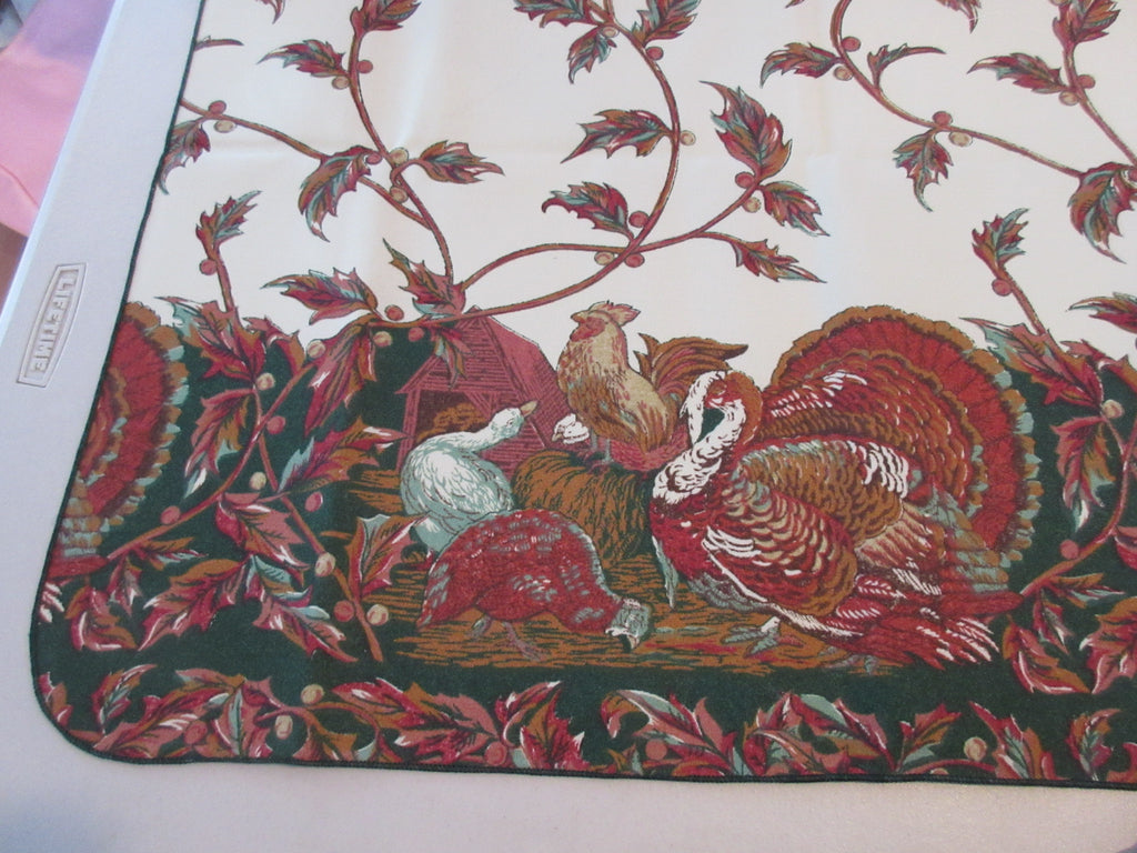 RECTANGLE 52x70 Thanksgiving Turkey Empress NOS Retro Printed Tablecloth (72 X 53)