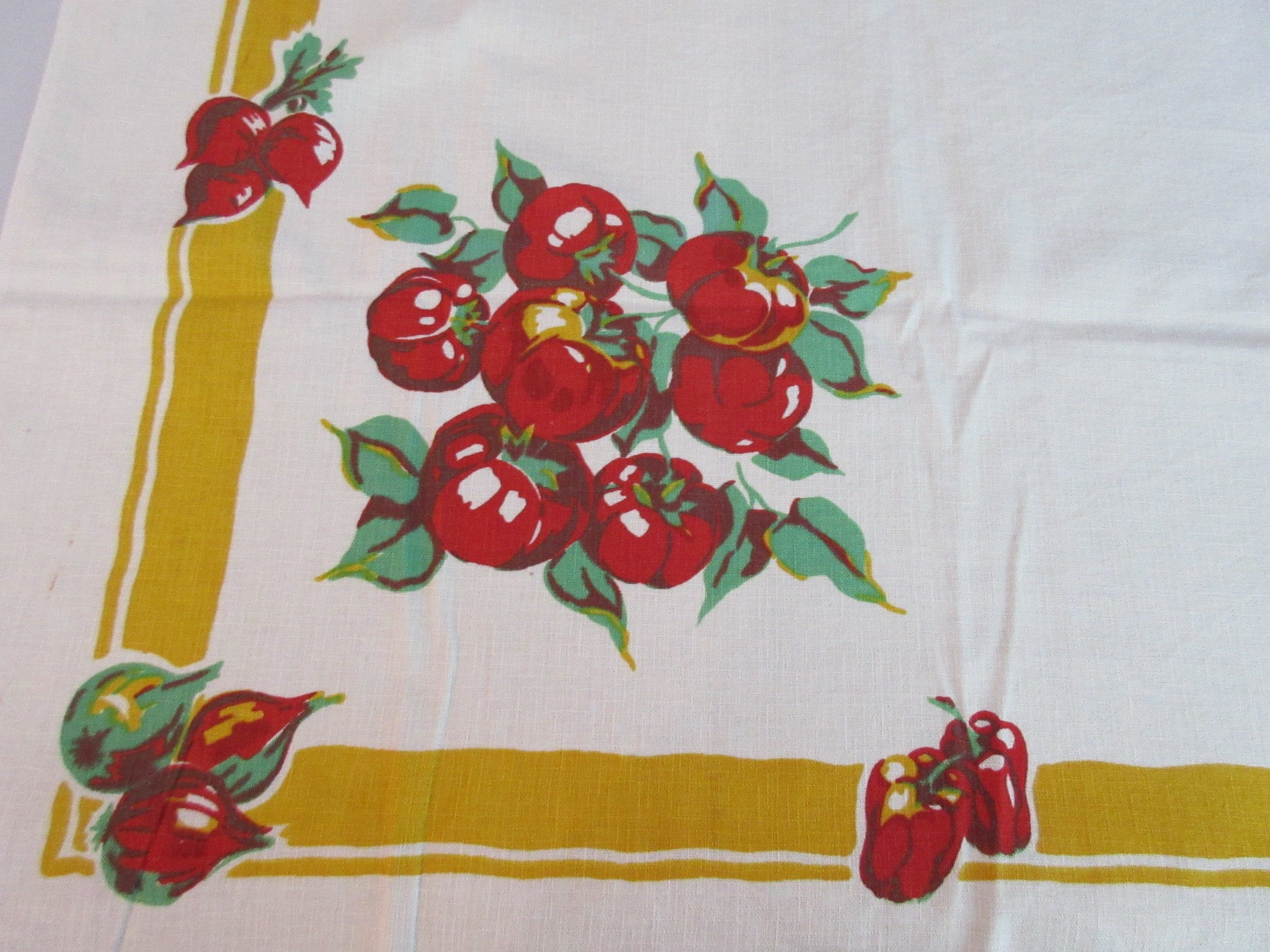Fall Autumn Early Vegetables Victory Garden Vintage Printed Tablecloth (49 X 48)