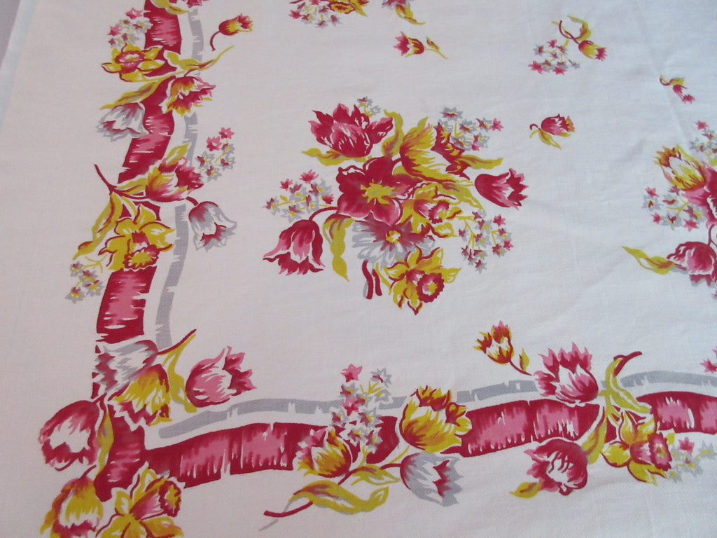 Rustic Pink Gold Gray Tulips Daffodils Floral Vintage Printed Tablecloth (50 X 49)