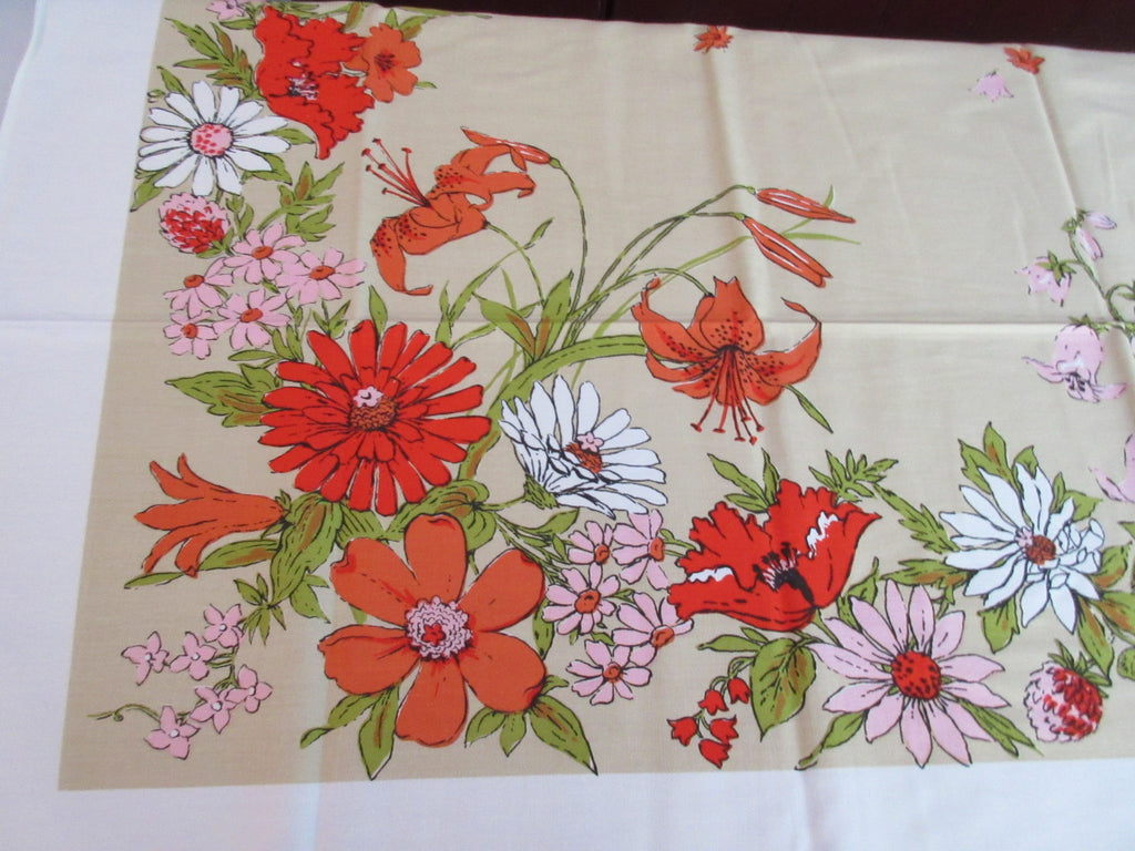Mod 60s Fall Daisies Lilies on Tan MWT Floral Vintage Printed Tablecloth (51 X 51)