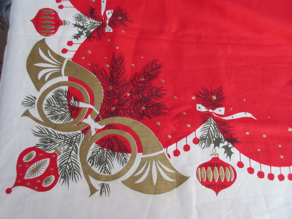 Large Rare Tammis Keefe Horns Harps on Red Christmas Vintage Printed Tablecloth (102 X 58)