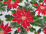 Terry California Hand Prints CHP Poinsettia  MWT Christmas Vintage Printed Tablecloth (74 X 51)