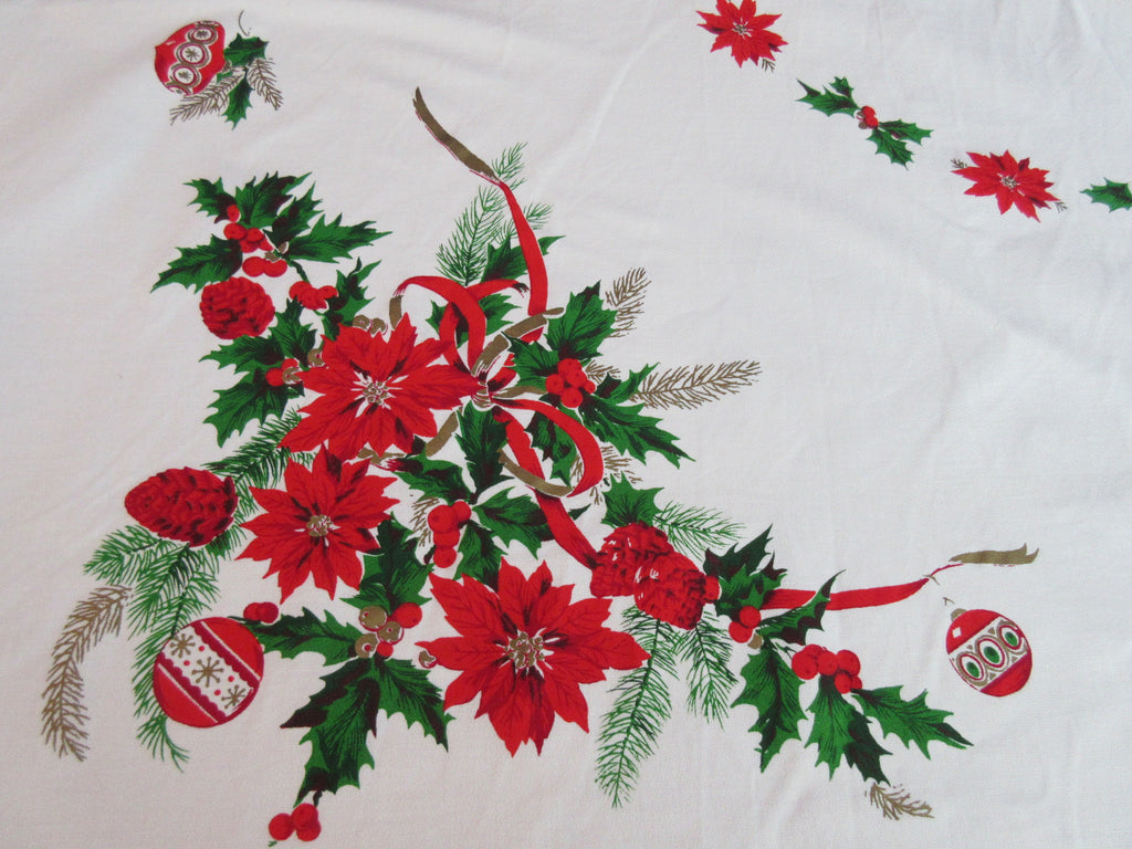 Fantastic Large Christmas Ornaments Ribbons Vintage Printed Tablecloth (89 X 62)