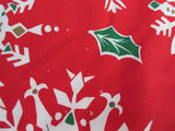 ROUND Gold Snowflakes on Red Cutter Christmas Vintage Printed Tablecloth