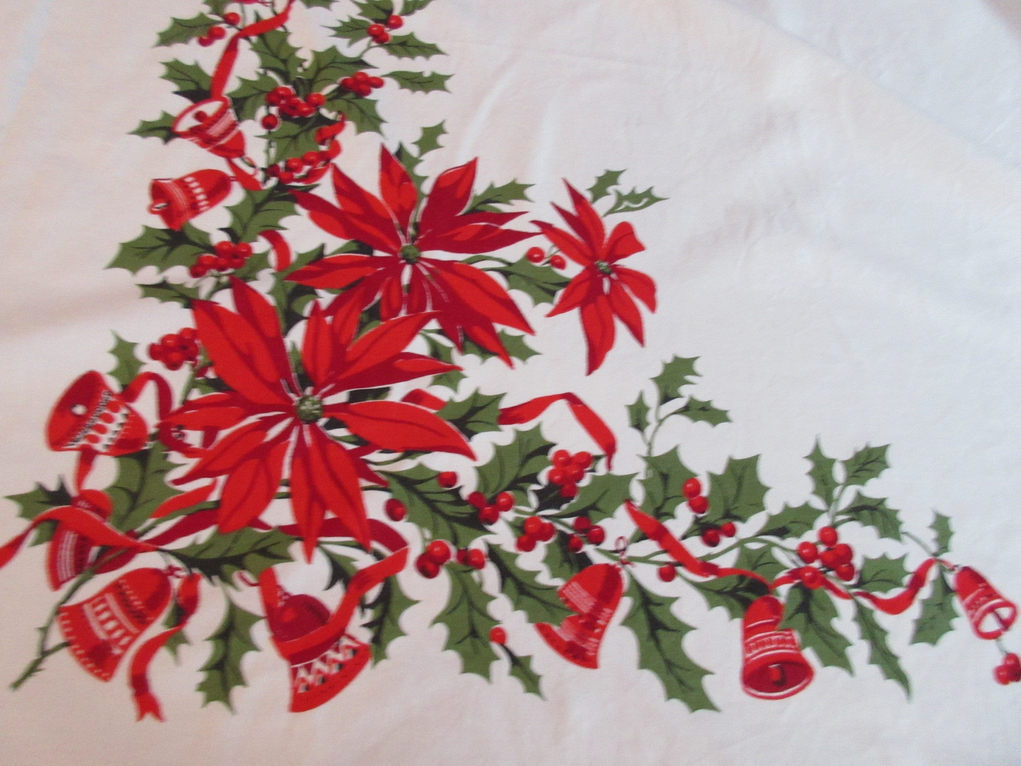 Wilendure Christmas Poinsettias Bells Holly Vintage Printed Tablecloth (67 X 53)