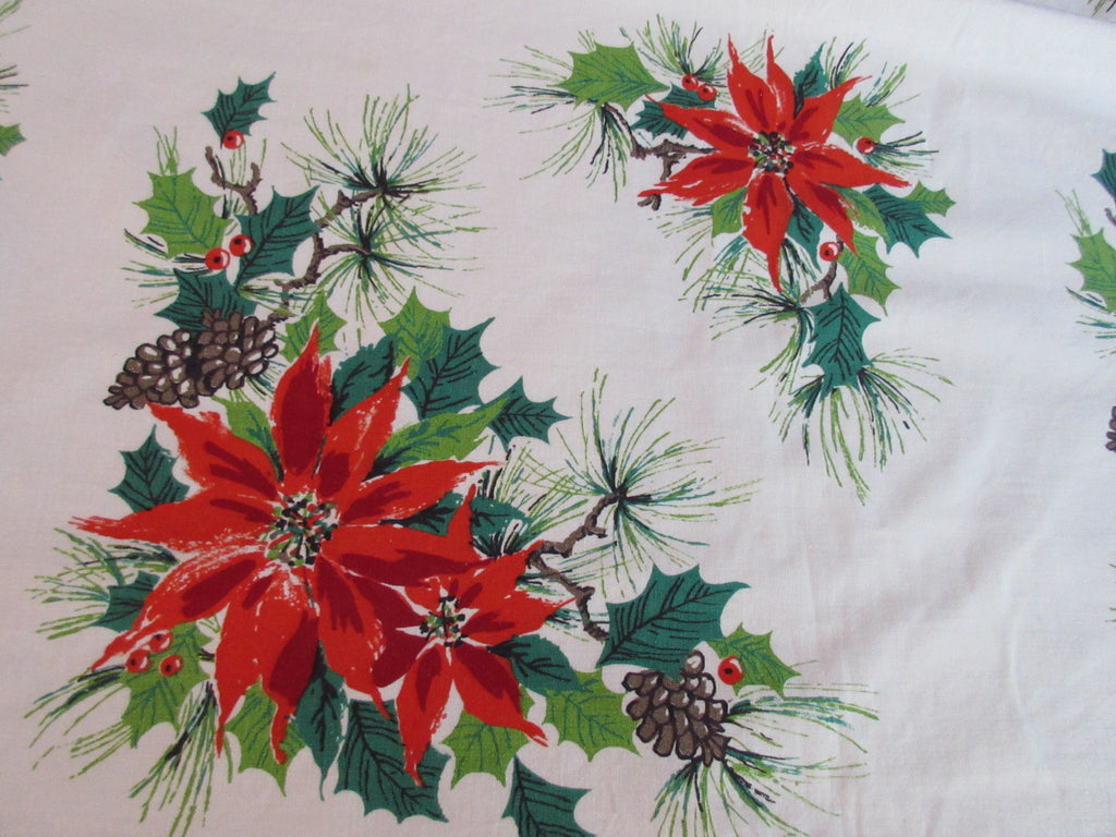 Large Poinsettia Holly Array Banquet Christmas Vintage Printed Tablecloth (97 X 52)