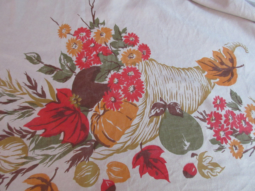 Large Fall Thanksgiving Horn of Plenty Harvest Novelty Vintage Printed Tablecloth (90 X 64)