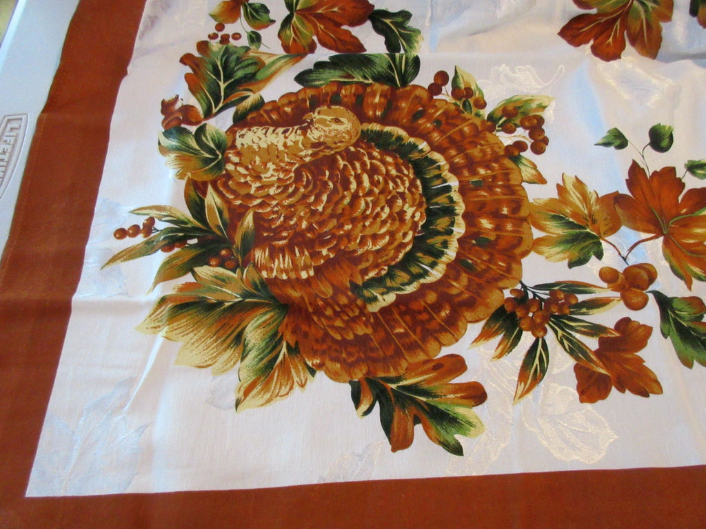 RECTANGLE 52x70 Thanksgiving Turkey Damask NOS Retro Printed Tablecloth (72 X 53)
