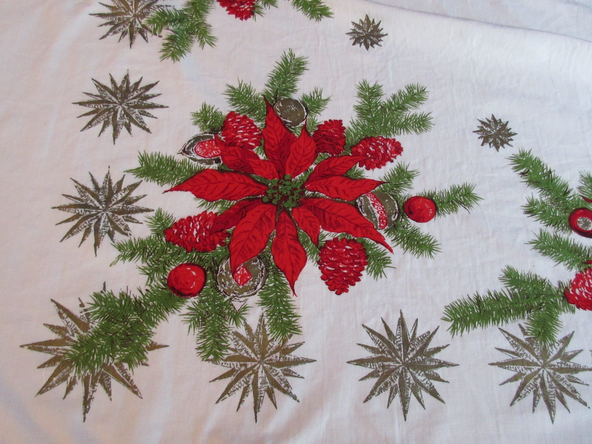 Red Poinsettias Pine Ornaments NWOT Christmas Vintage Printed Tablecloth (53 X 47)