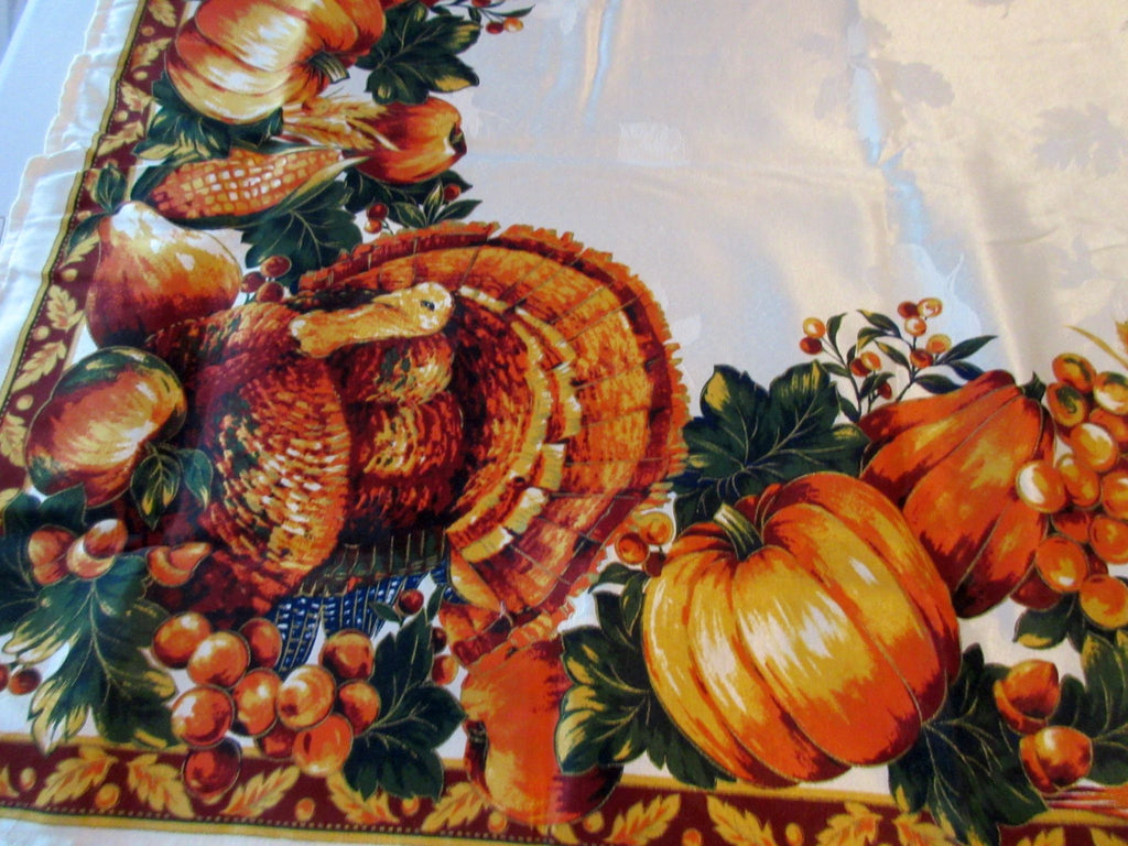 RECTANGLE 60x104 Thanksgiving Turkey Satin NOS Retro Printed Tablecloth (104 X 59 actual)