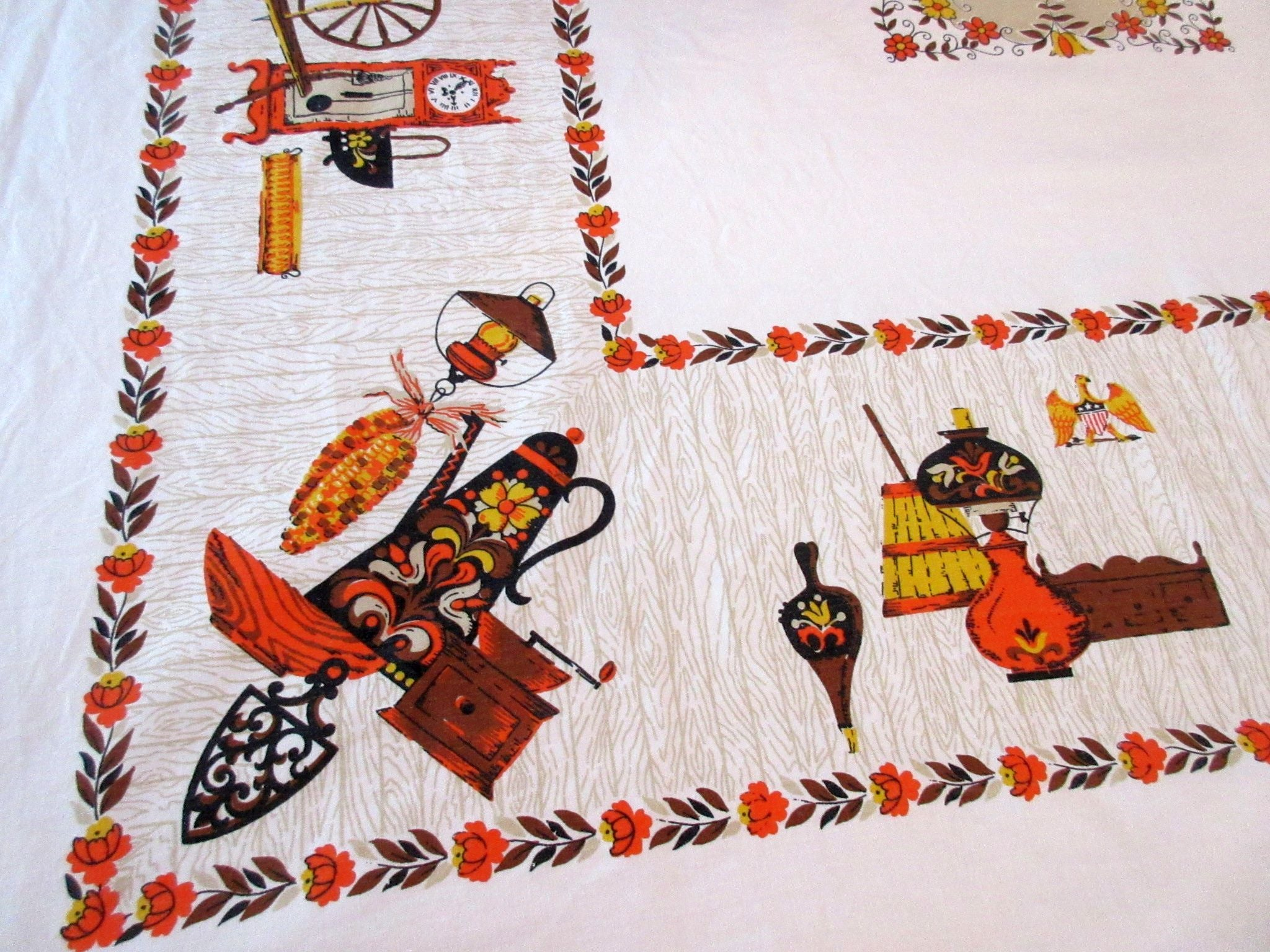 Cute Fall Colonial Stuff Novelty Vintage Printed Tablecloth (48 X 47)
