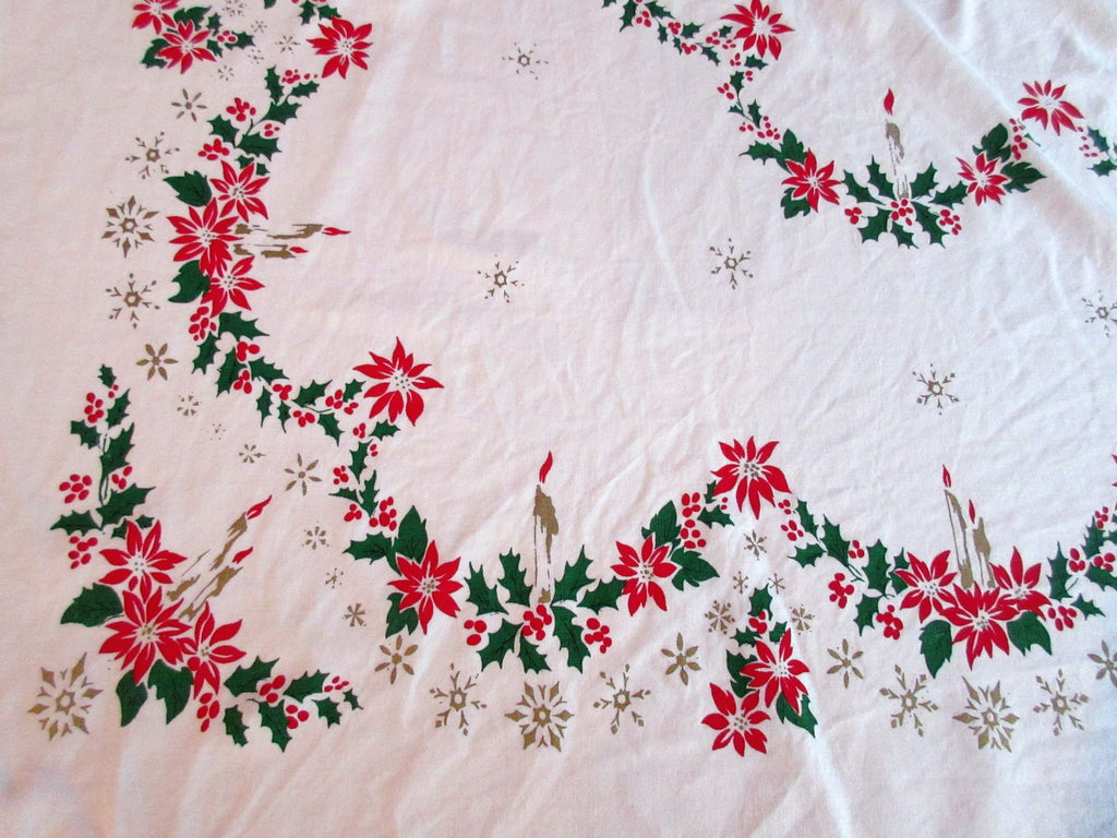 Delicate Poinsettias Candles Sweet NWOT Christmas Vintage Printed Tablecloth (64 X 55)
