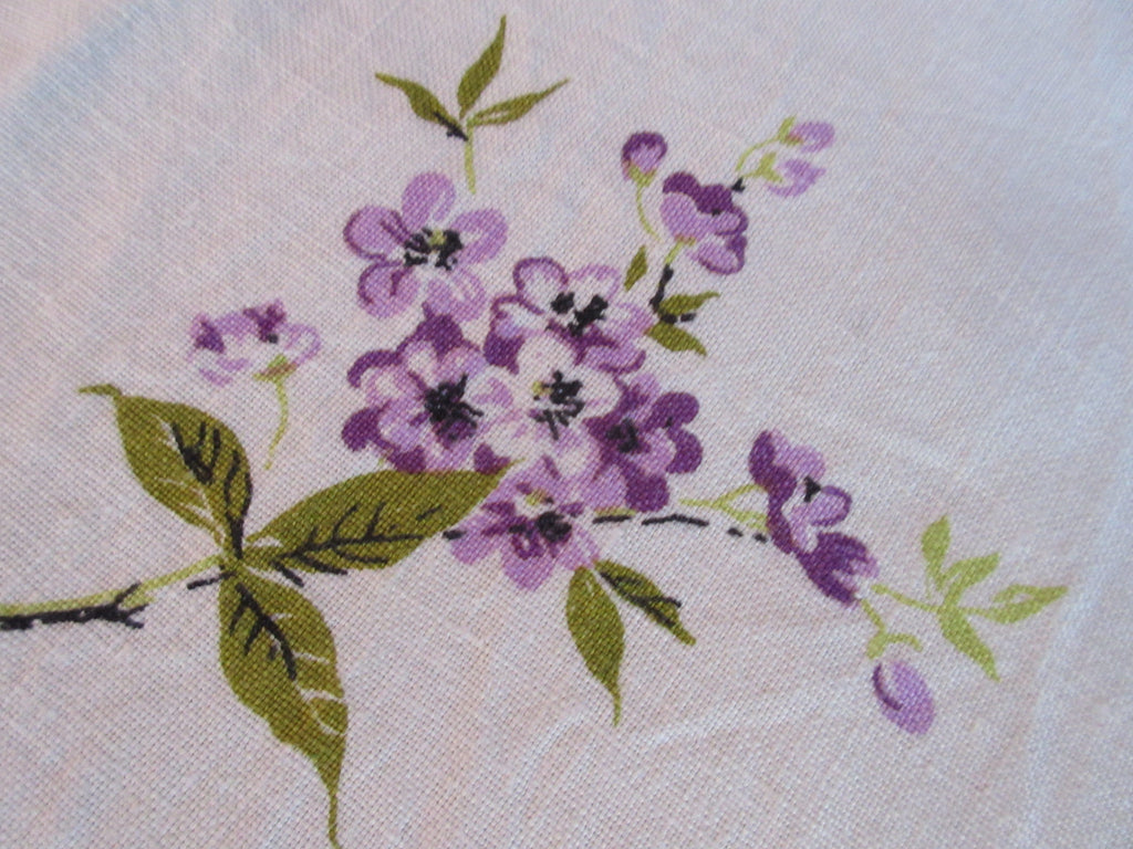 ROUND Purple Green Linen Floral Vintage Printed Tablecloth (67 X 65)