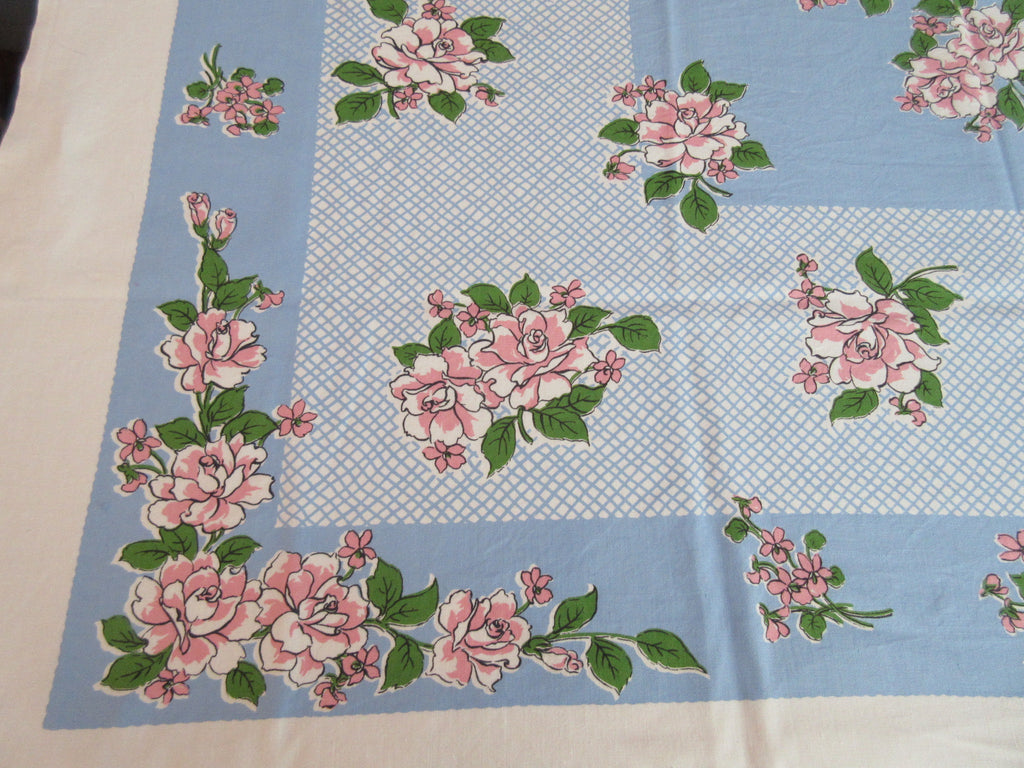 Pink Green Roses on Blue Crosshatch Floral Vintage Printed Tablecloth (52 X 49)