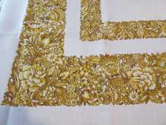 Large Gold Jacobean Floral MWT Leacock Vintage Printed Tablecloth (83 x 60)