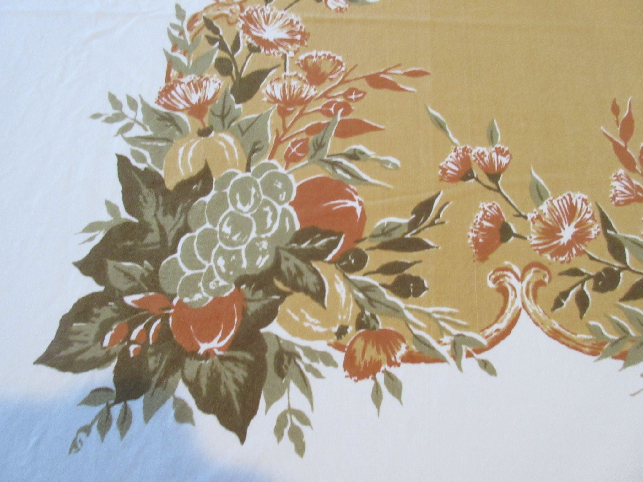 Large Harvest Vegetables Flowers Novelty Vintage Printed Tablecloth (91 X 60)