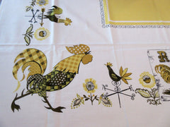 Fall Roosters on Gold MWT Novelty Vintage Printed Tablecloth (68 X 51)