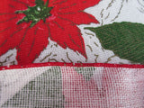Red Green Poinsettias Lintex MWT Christmas Vintage Printed Tablecloth (54 X 50)