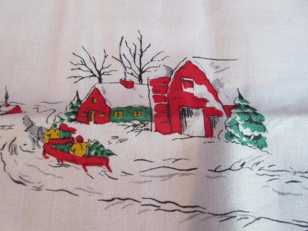 Rare Large Horse and Sleigh Linen Christmas Vintage Printed Tablecloth (83 X 61)