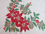 Poinsettia Golden Candles Christmas Vintage Printed Tablecloth (64 X 54)