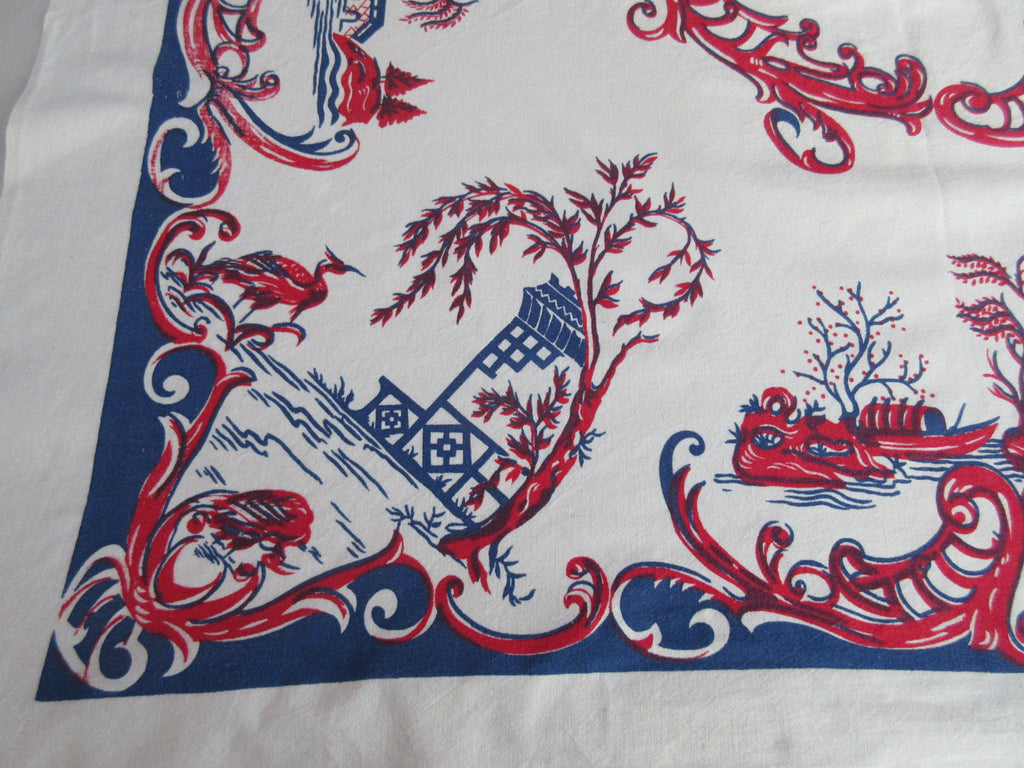Early Red Blue Oriental Ships Cranes Novelty Vintage Printed Tablecloth (44 X 42)
