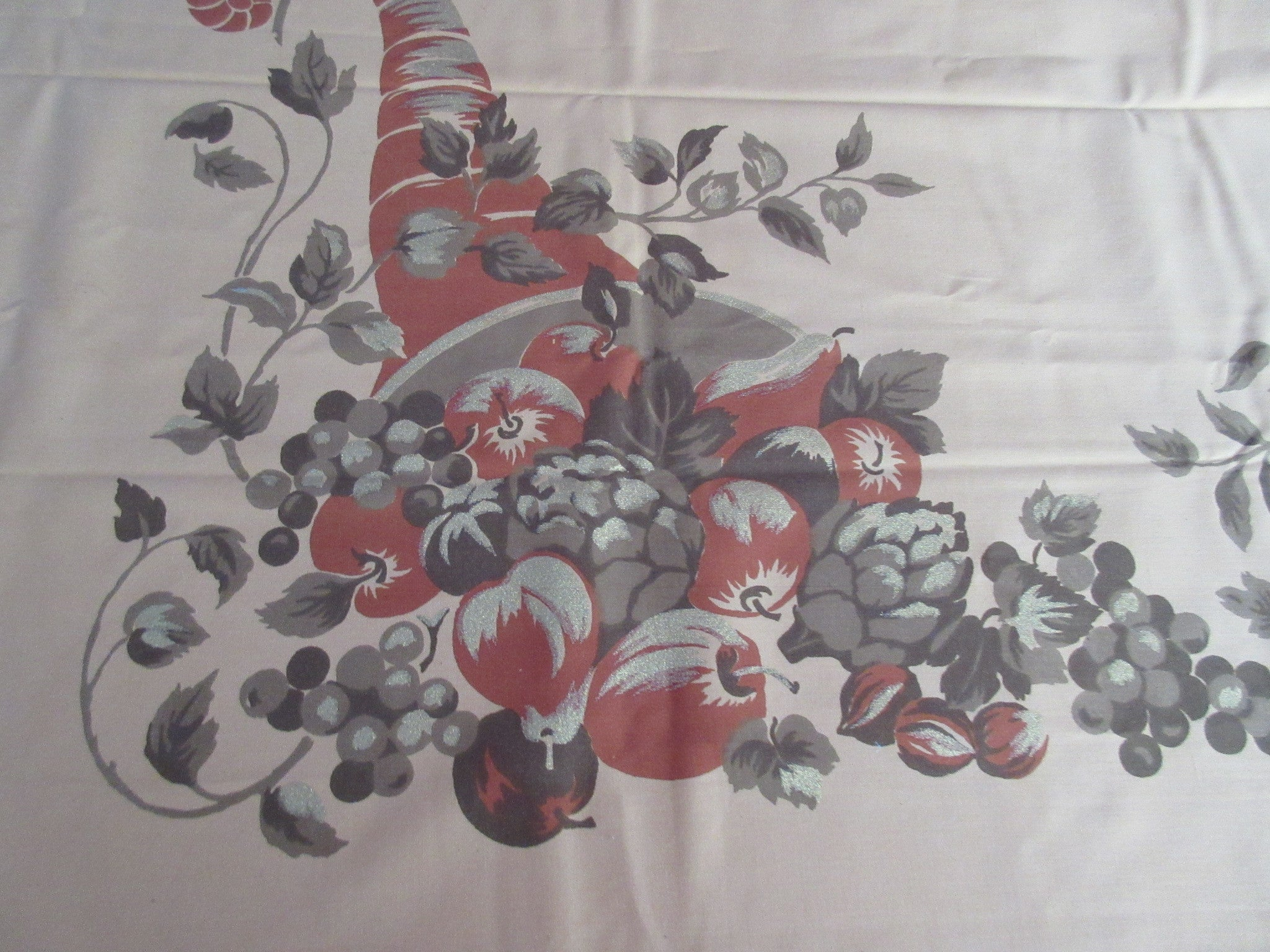 Large Unused CHP Fall Thanksgiving Novelty Vintage Printed Tablecloth (88 X 58)