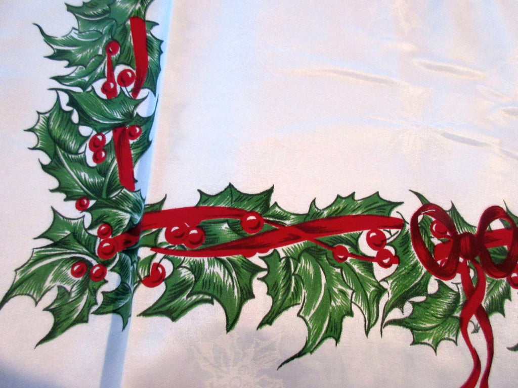 RECTANGLE 60x104 Radko Christmas Holly Ribbons Damask NOS Retro Printed Tablecloth (101 X 60 actual)