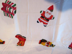 ROUND 70 Radko Christmas Holiday Celebrations NOS Retro Printed Tablecloth (68 actual)