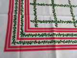 Christmas Holly Stripes MWT Holiday Novelty Vintage Printed Tablecloth (68 X 52)