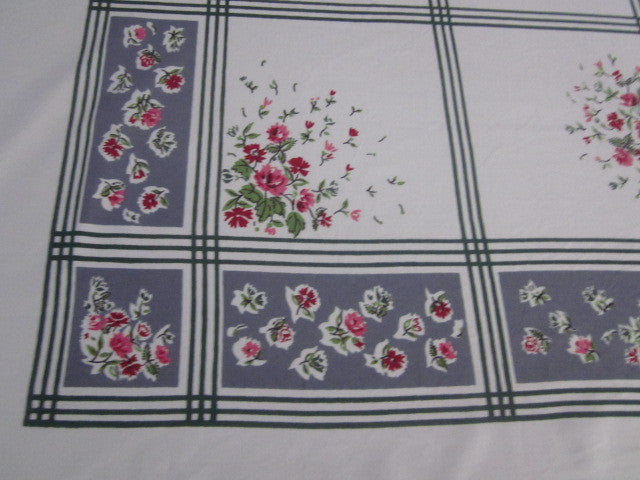 Pink Roses on Charcoal Gray Floral Vintage Printed Tablecloth (63 X 53)