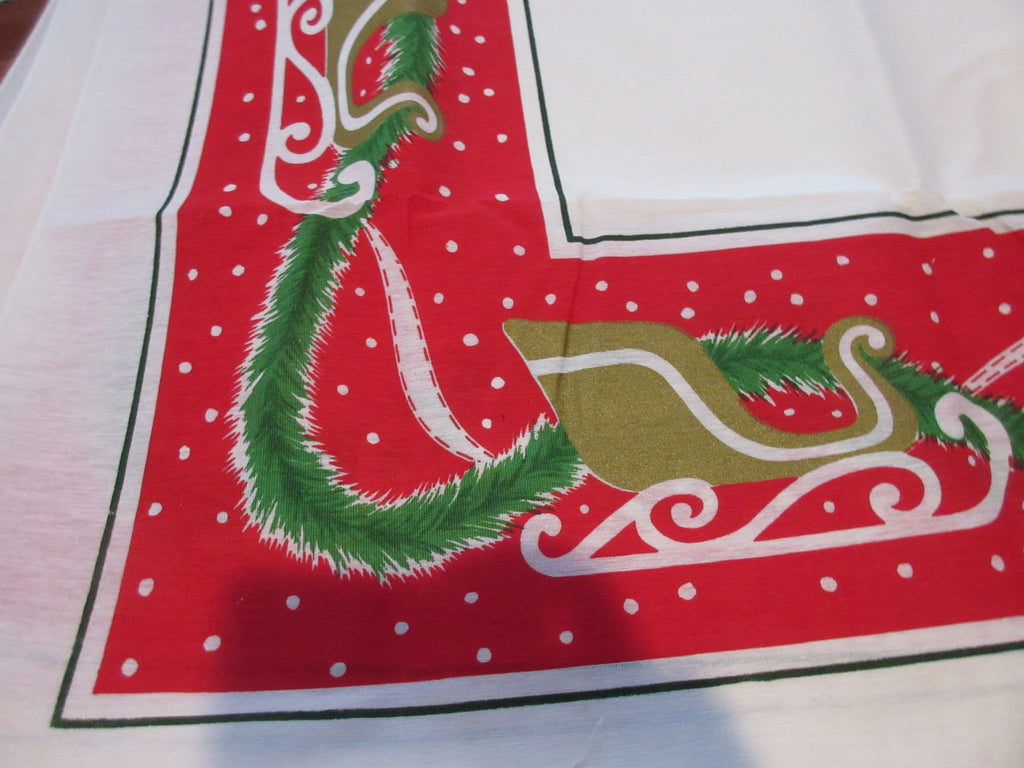 RECTANGLE 60x102 Christmas Gold Sleighs NOS Vintage Printed Tablecloth (102 X 59 actual)