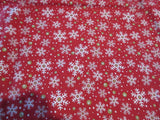 RECTANGLE 60x120 Christmas Snowflakes on Red FiESTA NOS Retro Printed Tablecloth (118 X 60 actual)