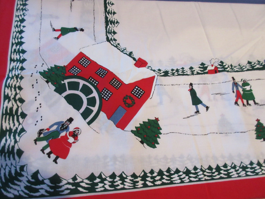 RECTANGLE Christmas Winter Wonderland NOS Retro Printed Tablecloth (86 X 52 actual)