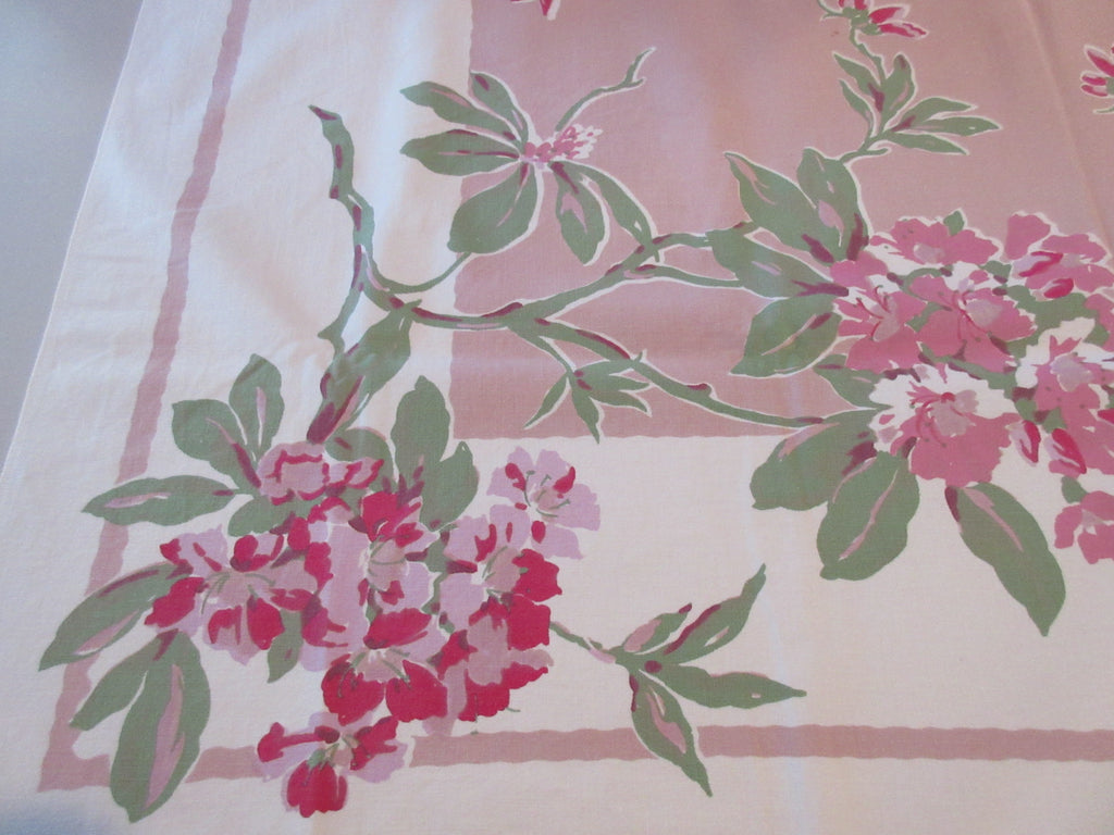 Rhododendrons on Pink Floral Vintage Printed Tablecloth (47 X 47)