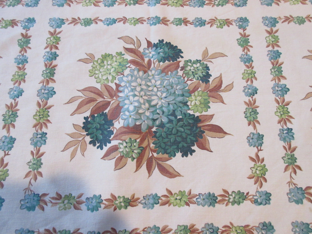 Teal Hydrangeas on Tan Floral Vintage Printed Tablecloth (46 X 41)