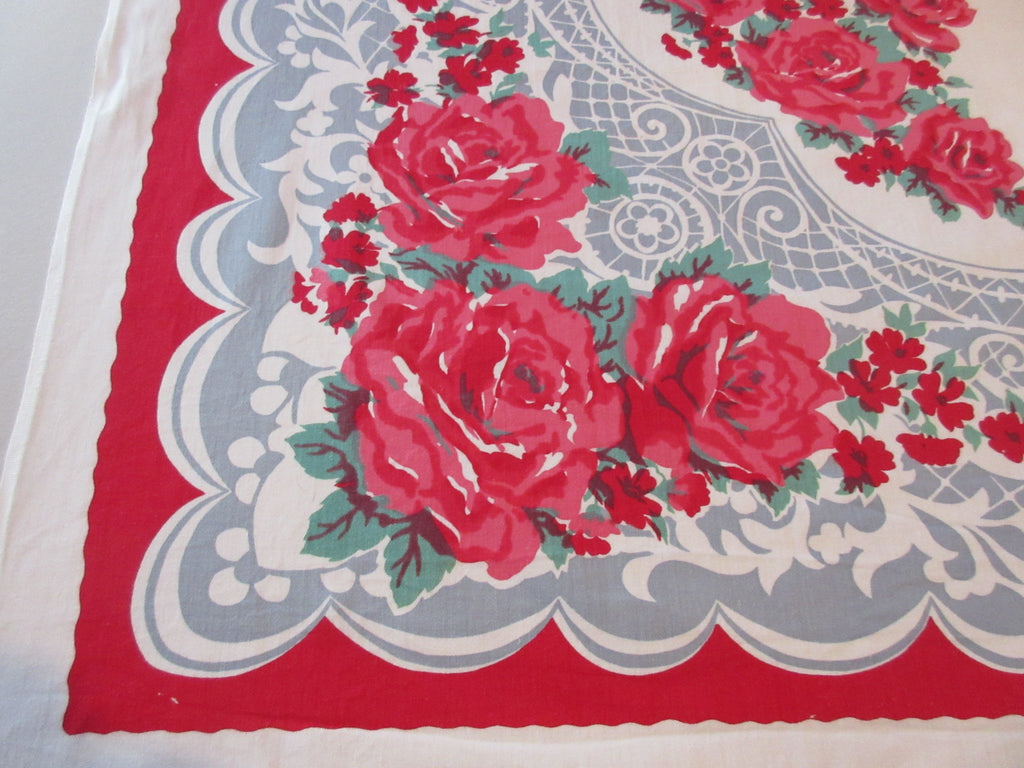 Deep Pink Roses on Blue Gray Lace Floral Vintage Printed Tablecloth (48 X 47)