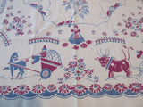 Shabby Broderie Farmers and Pigs Novelty Vintage Printed Tablecloth (44 X 44)
