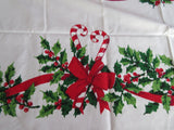 Simtex Candy Canes Holly Christmas MWT Novelty Vintage Printed Tablecloth (68 X 52)