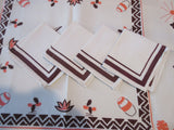 Orange Brown Mexican Topper Napkins Novelty Vintage Printed Tablecloth (35 X 34)