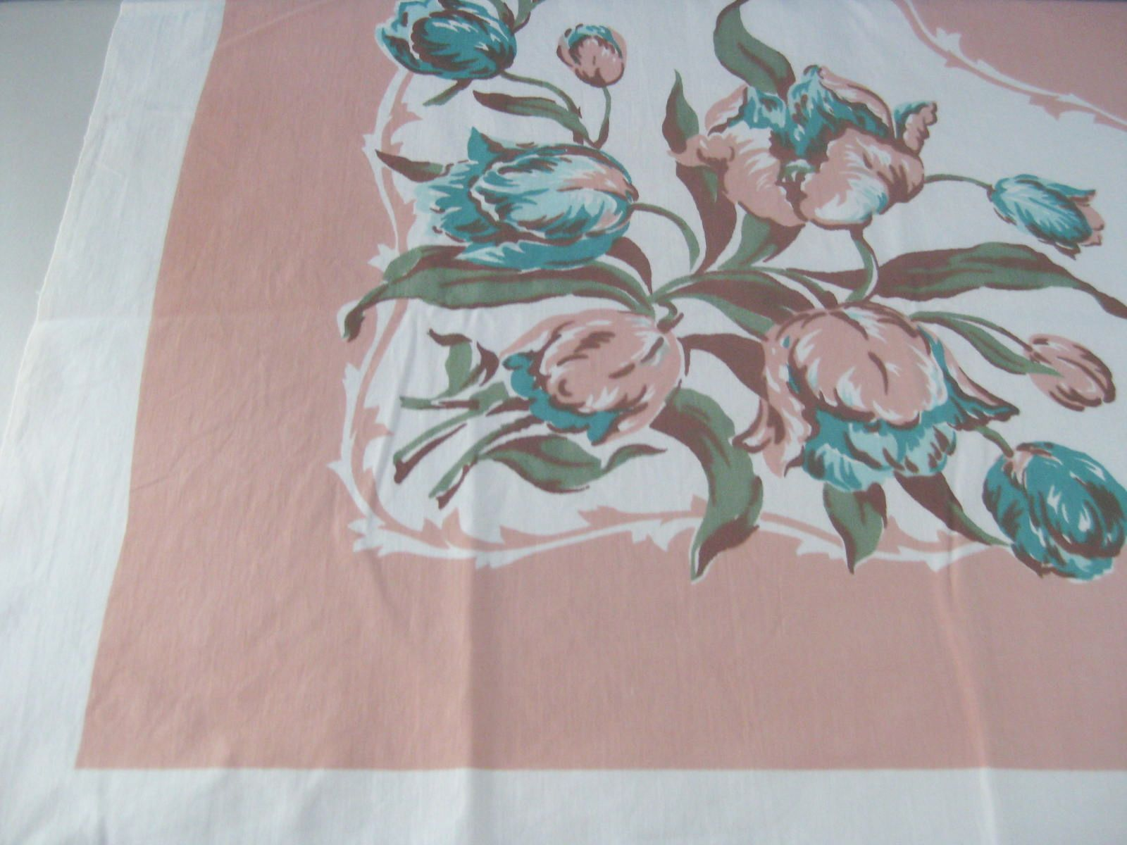 Tulips on Peach Floral NWOT Vintage Printed Tablecloth (51 X 48)