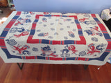 Imperfect Rare Cats Lobsters ON BLUE Novelty Vintage Printed Tablecloth (50 X 49)