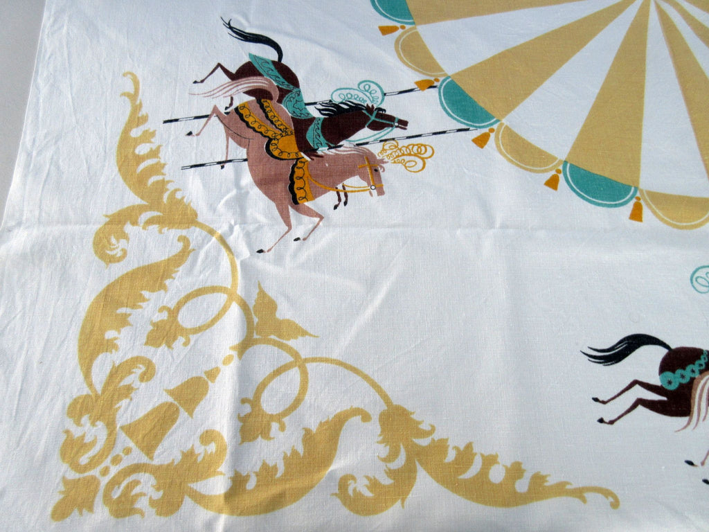 Rare Imperfect Carousel Horse Horses Prints Charming Linen Novelty Vintage Printed Tablecloth (51 X 48)