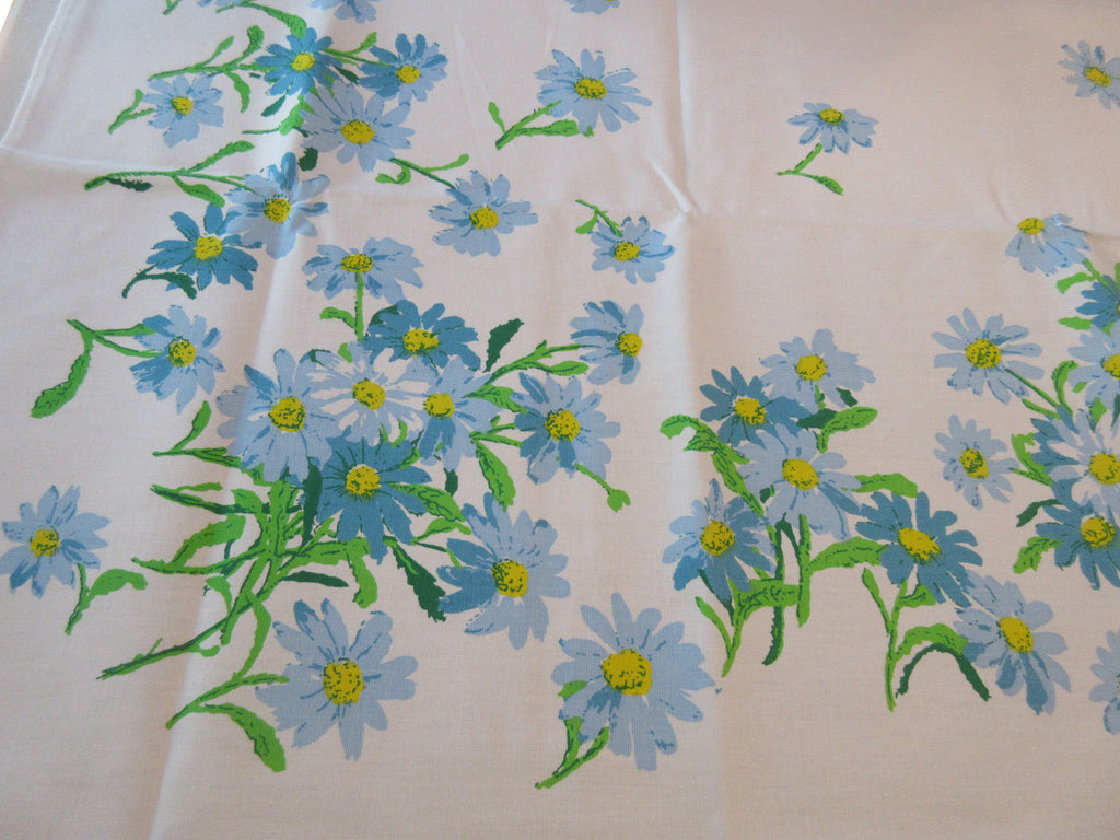 Blue Daisy Daisies MWT Floral Vintage Printed Tablecloth (69 X 53)