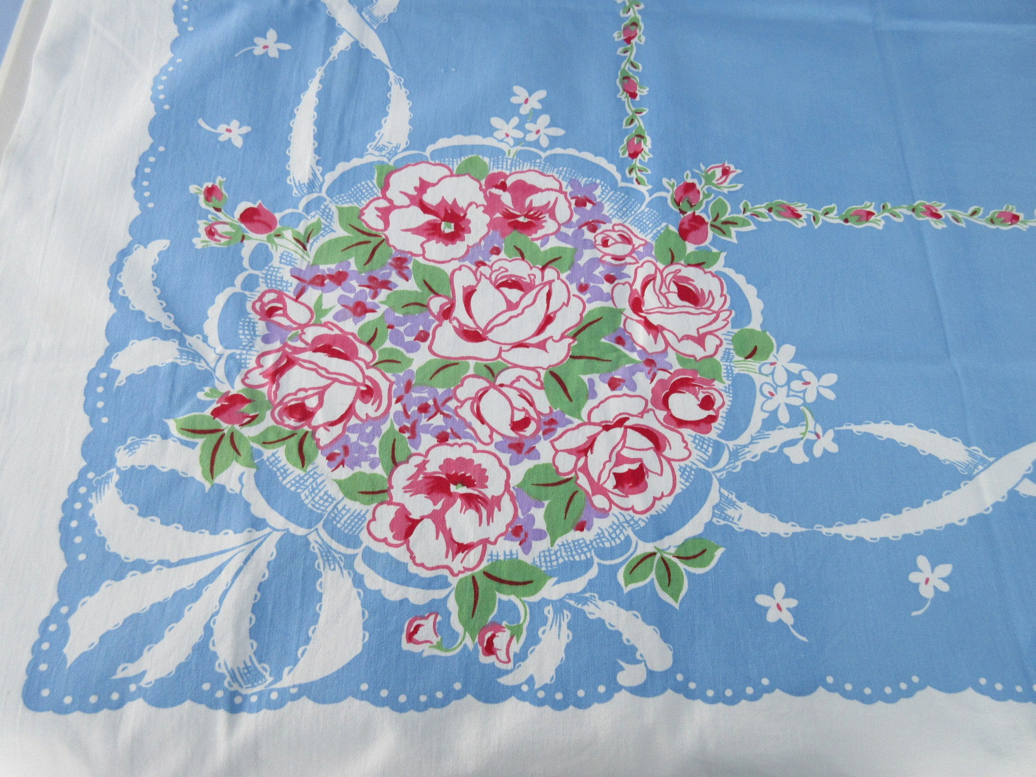 Imperfect Pink Green Roses on Blue Heavy Floral Vintage Printed Tablecloth (50 X 45)