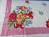 Primary Lilies Tulips Red on Pink Linen MWT Floral Vintage Printed Tablecloth