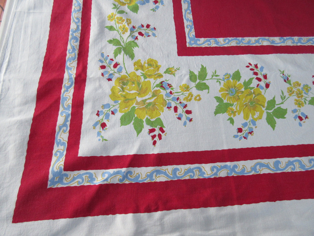 Yellow Roses on Red Center Cutter? Floral Vintage Printed Tablecloth (65 X 54)